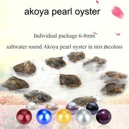 Wholesale birthday wishes gifts - 2018 Wholesale DIY seawater Pearl oyster with AAA 6-8mm round 25 different colors wish pearl meaning funny birthday gift!free shipping