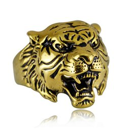 Wholesale 18k Gold Plated Ring Mens - Super Quality Punk Rock Mens Biker Rings Vintage Gothic Skeleton Silver Jewelry 18K Gold Plated Tiger Skull Ring Men US Size