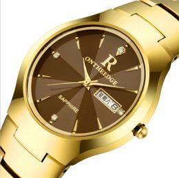Nomes de espelho on-line-De alta qualidade relógio de aço de tungstênio masculino à prova d 'água duplo calendário de safira espelho dos homens marca relógio casal relógio de quartzo