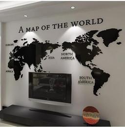 2019 autocollants muraux londres Gratuit shippingDIY 3D acrylique Wall Sticker Fond de carte du monde pour Bureau Salon décoration chambre