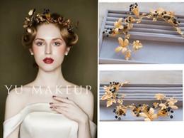 Wholesale Dragonfly Hair - European Baroque antique gold leaf barrette handmade bride wedding dress Dragonfly hair headdress