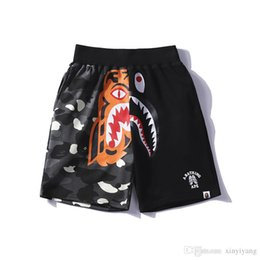 Wholesale Women Tiger Print Pants - Lover Tiger Shark Printed Camo Casual Shorts Pants Men Women Casual Two Colors Splice Camo Shorts Camo Luminous Beach Pants