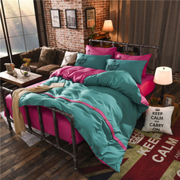 Wholesale Full Queen Bedding Sets - Fashion Ink Green + Pink AB Layout Duvet Cover Set Single Double Twin Queen 4pcs Bedding Sets Themed Bed Linen Super Soft Warm