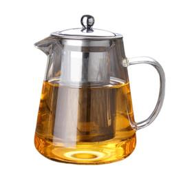 Teiere nere online-Insieme di tè di vetro della teiera di vetro resistente al calore di grande capacità con il filtro dall'acciaio inossidabile per il tè di Kung Fu / bollitore di caffè dell'ufficio del tè nero