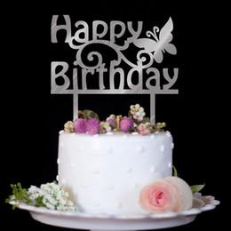 Dessous de gâteaux d'anniversaire en plastique en Ligne-En gros Acrylique Joyeux Anniversaire Gâteau Topper Miroir Argent / Or Gâteau Insérer Carte Belle en plastique Gâteau Décor Événement Parti Fournir Plus Style