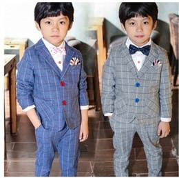 Wholesale Gentle Style - 2018 New 3pcs Boys Plaid Wedding Suit Brand England Style Gentle Boys Formal Tuxedos Suit Kids Spring Clothing Set