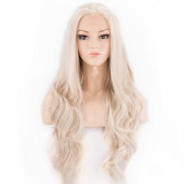 Sıcak Satış Kül Sarışın Peruk Sentetik Dantel Ön Peruk Beyaz Kadınlar için Işık Sarışın Ücretsiz Ayrılık 22 Inç Uzun Dalgalı Isıya Dayanıklı Fiber nereden