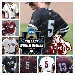 Wholesale grey baseball jerseys - Mississippi State Bulldogs 5 Tanner Allen 10 Josh Hatcher 13 Hunter Stovall 40 Elijah MacNamee College Baseball 2018 CWS White Red Jerseys
