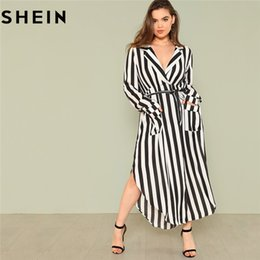 7cd6857b271a empire waist maxi dress plus size 2019 - SHEIN Black And White Stripe V  Neck Belted