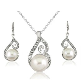 Wholesale cz platinum - New AAA Cz Crystal Pearl Necklace Earrings sets Fashion Party Wedding Platinum Silver Plated Women Jewelry Sets