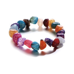 natural beaded linked chain Promo Codes - Natural Agate Stone Bracelets Womens Yoga Energy Prayer Mixed Multi Color Irregular Stone Wrap Extendable Bracelets
