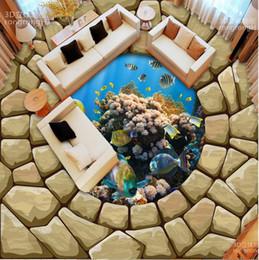 piastrelle da parete di pittura Sconti carta da parati muro di mattoni HD mondo subacqueo pietra pittura tridimensionale pavimento dipinto dipinto di piastrelle di ceramica