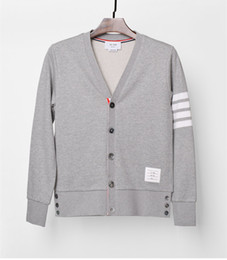 Wholesale korean fashion cardigan men - Cardigan male sweater Korean Slim tide coat Spring and Autumn solid color youth students four bars men and women couple sweaters