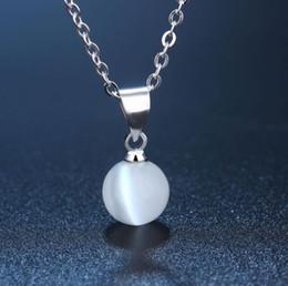 2019 ciottoli bianchi 925 sterling silver round bead collana classica moda gioielli moda bianco gatto ciottolo pendente temperamento gioielli selvatici ciottoli bianchi economici