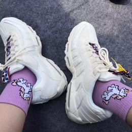 chaussettes heureuses violettes Promotion Nouvelles licornes femmes chaussettes animaux de dessin animé Ins populaire chaussettes drôles Art violet et rose heureux équipage