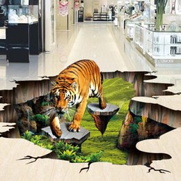 Wholesale Floor Paint Wood - Free Shipping 3D stereo custom flooring Tigers painting outdoor painting living room shopping mall wallpaper mural