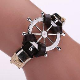 pulseira de roda do navio Desconto Venda por atacado - Charm Bracelet Women Men trançado pulseira pulseira de prata cor jóias para presente das meninas do navio volante charme pulseira