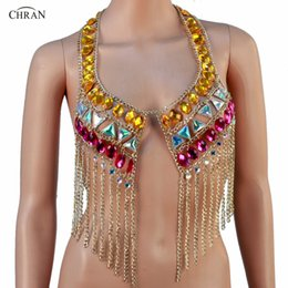 Wholesale belly dancing outfits - Chran Belly Dance Crop Top Rave Bra Halter Necklace Burning Man Ibiza Sonus Festival Wear Body Lingerie EDC Outfit EDM Jewelry