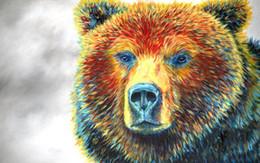 2019 крутые картины абстрактного искусства Giclee медведь мысли цвет исследование живопись маслом искусство и холст украшения стены искусство живопись маслом на холсте longhorn бычок Марион Роза MRR011