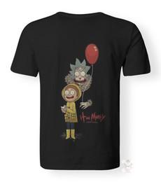 Camisetas divertidas de la historieta online-Rick y Morty Dibujos animados Funny Stephen King It Parodia Impresión 3D de Pennywise Camiseta personalizada camiseta impresa hip hop camiseta divertida para hombre camisetas