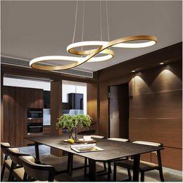lampade da bar rustiche Sconti Lampadari Circle anelli di LED lampadario luce FULOC Fashional Dinning Room moderna per illuminazione dell'interno AC 85-260V