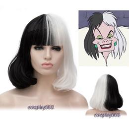 2019 haarfarbe styles burgund schwarz Cruella de Vil Kostüm Perücke Schwarz Weiß Frau Spot Hair Deville Dalmatins Perücke