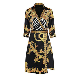 Wholesale elegant flower print dresses - New design Gold Flower pattern Noble Women Dress 3 4 Sleeve Dresses High quality elegant Dress Female Vintage dress Free Shipping