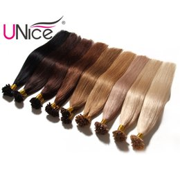 Wholesale Hair Extension Keratin - UNice Hair Brazilian 8a Virgin Keratin Nail U Tip Human Hair Extensions 100g Remy Natural Straight Hair Wefts Wholesale Cheap Silk Top Nice