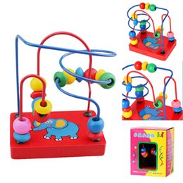 Wholesale Wooden Toys Bead Maze - Wooden Elephant Bead Maze Kids Children Bead Rollercoaster Maze Puzzle Toy