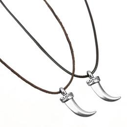 Рог цвет ожерелье онлайн-LE SKY новый серебряный цвет ожерелье волки зубы бык Рог ножны личность Шарм сплава ожерелье Рога для мужчин женщин подарок