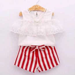 d5f1be6a501 ST373 Children Girls Clothes Kids Set Fashion Lace Off Shoulder T-Shirt + Strip Shorts Baby Girls Clothing Set Kids Clothes Set