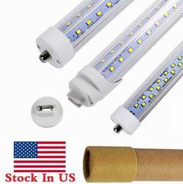 Wholesale foot shapes - 8ft Single Pin FA8 led t8 tube lights V Shaped R17D 8 Feet LED Fluorescent Tubes Light AC 85-265V + Stock In US