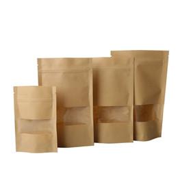 Bolsas de regalo reciclables online-10 unids Brown Kraft Paper Gift Bolsas de Dulces Bolsa de Empaquetado de La Boda Reciclable Comida Pan Bolsas de compras para Boutique Zip Lock