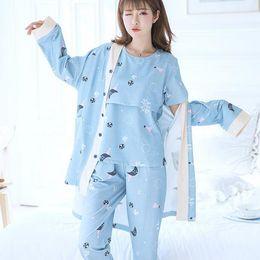 3e50327a32018 3PCS Sets Printed Cotton Maternity Nursing Pajamas Fashion Nightwear Home  Wear for Pregnant Women Pregnancy Sleepwear Suit DF662