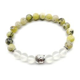 Wholesale Crystal Beads Bracelet Design - SN1258 New Design Yellow Howlite Bracelet High Quality Matte Clear Crystal Buddha Bracelet Yoga Mala Beads Jewelry