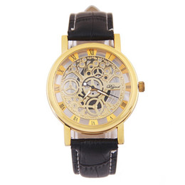 Wholesale Men Skulls Watches - wholesale fashion mens skull hollow roma dial leather watch men casual business sport quartz wrist watches hot design wristwatch