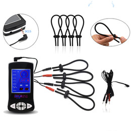 Brinquedos do jogo electro on-line-SM Play Electro Shock Penis Ring Sex Toys Electric Cable Adjust Cock Rings Stimulation Medical Themed Sex Toys For Adult Games