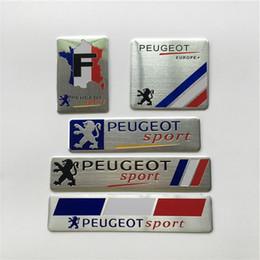 Peugeot pegatinas emblema online-Bandera Nacional de Francia Insignia de Aluminio Fino Etiquetado Emblema Etiqueta Car Styling para Peugeot Sport 307 206 408 508 406 3008