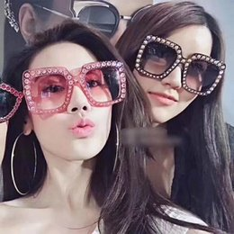 Wholesale Italian Designer Sunglasses - UV400 Luxury Brand Designer Italian Big Crystal Sun Glasses Square Shades Women Oversized Sunglasses Retro Top Rhinestone
