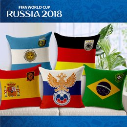 Wholesale Pillow Covers Country - Throw Pillow Case Russia 2018 FIFA World Cup National Flag Cushion Covers Top 32 Countries Flax Cotton Linen Pillowcases Sofa Home Decor