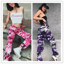 Wholesale Girls Floral Harem Pants - New Women's Camouflage Harem Pants Full Length 2018 Spring Multy Camo Hip Hop Pants Girls Streetwear Toursers Multi Colors Printed Jeans