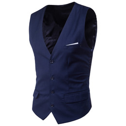 Wholesale Thin Sleeve For Dresses - 2017 New Arrival Dress Vests For Men Slim Fit Mens Suit Vest Male Waistcoat Gilet Homme Casual Sleeveless Formal Business Jacket