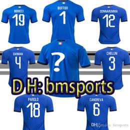 Wholesale italian cup - 2018 World Cup Italy home blue soccer jerseys Italian VERRATTI Totti 10#PIRLO 18#Buffon 1#Football 17#EDER jerseys uniform adult