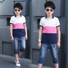 Мальчики джинсы t рубашки брюки онлайн-baby clothing Summer 2018 new style Korean boy Pin-up Printing Short sleeve T-shirt + jeans pants suit popular fashionable