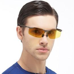 Wholesale yellow night driving glasses - Anti Glare Sun Glasses Superior Impact Resistance Sunglasses For Men Car Drivers Night Vision Polarized Goggles Practical 23fs BB