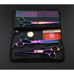 Wholesale dragon shears - Purple Dragon 4pcs set 7 inch Professional Pet Dog Grooming Scissors Straight Scissors & Curved Shear & thinning scissors+comb