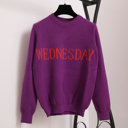 Wholesale Orange Sweaters Women - SRUILEE Fashion Week Women Sweater Chic Knitting Jumper Monday Tuesday Wednesday Thursday Friday Saturday Sunday Runway Pullover