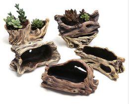 plastik pflanze tags großhandel Rabatt 2018 Neue Kreative Nachahmung Holz Blumentöpfe für Sukkulenten Bonsai Zement Blumentöpfe