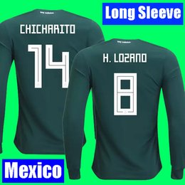 Wholesale H Cup - H LOZANO CHICHARITO camisa Mexico Long sleeve soccer jerseys 2018 MARQUEZ G DOS SANTOS world cup football shirt kit jersey camisetas futbol