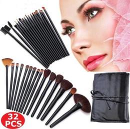 Wholesale Makeup Brushes 32pcs Pink - 32pcs set Professional Soft Cosmetic Eyebrow Shadow Makeup Brush Set Kit With Storage Case CCA8671 24set